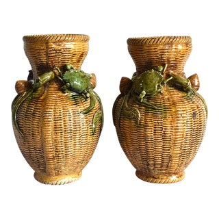 Antique Meiji Japanese Basketweave Vases With Crabs and Snails - a Pair For Sale
