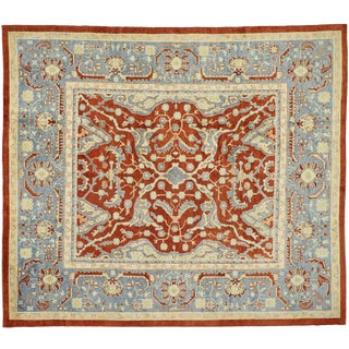 Contemporary Turkish Oushak Rug With Federal Style - 11′11″ × 13′8″