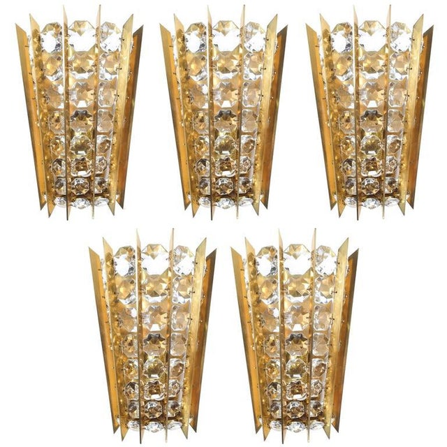 Gold Set of Five Crystal and Brass Sconces by Bakalowits & Sohne For Sale - Image 8 of 8