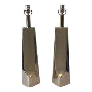 Cast Aluminum Modern Lamps by Laurel Lamp Co. - a Pair For Sale