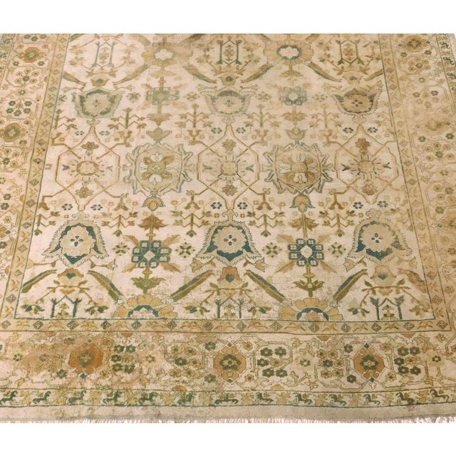 1920s Distressed Antique Hand Knotted Indo-Oushak Rug - 12′ × 17′6″ For Sale - Image 5 of 6