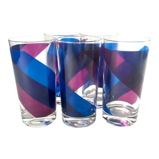 1970s Blue and Purple Colony Highball Tumbler Glasses - Set of 5 For Sale