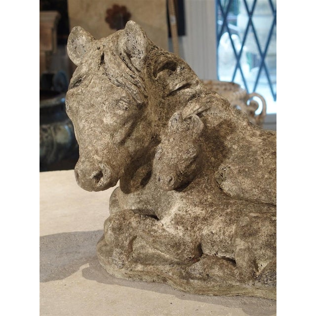Mid 20th Century Small Decorative Ponies Statue of Reconstructed Stone From France For Sale - Image 5 of 10