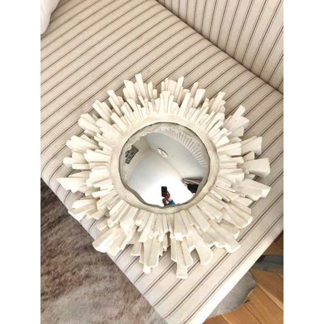 Gorgeous hand-made plaster convex/sunburst mirror with mercury glass mirror. Hand-made in Paris. Dimensions: 15' 1/4...
