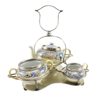 1960s English Tea With Silver Plate Caddy - 4 Pieces For Sale