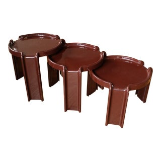 Giotto Stoppino for Kartell Chocolate Brown Nesting Tables - Set of 3 For Sale