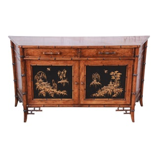 Century Furniture Hollywood Regency Chinoiserie Faux Bamboo Credenza, Made in Italy For Sale