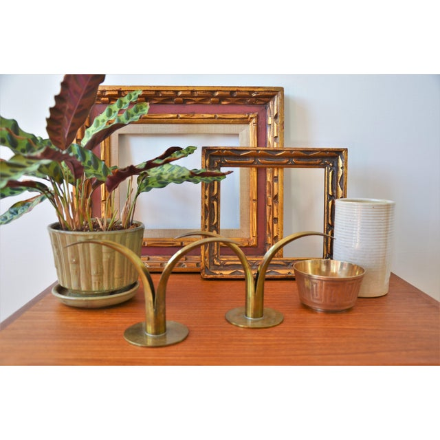 1960s The Lily Brass Candle Holders by Ivar Ålenius Björk for Ystad Metall - a Pair For Sale - Image 5 of 6
