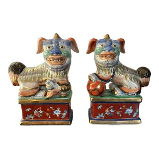 Vintage Hand Painted Porcelain Foo Dogs- a Pair For Sale