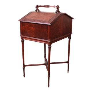 Antique Carved Mahogany Sewing Stand For Sale