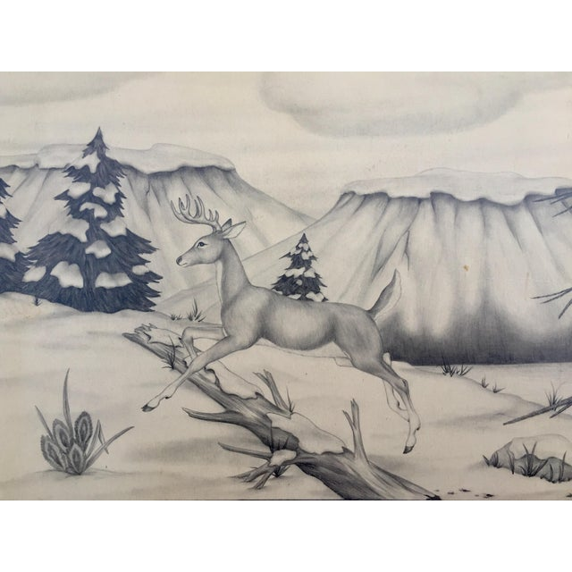 Deer in Winter Mountain Vintage Drawing by M. Keoke - Image 6 of 6