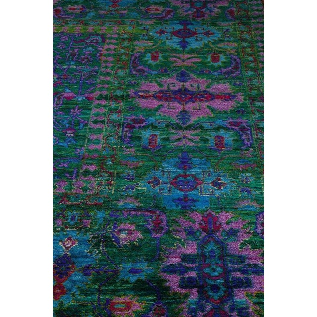 Vintage Mid-Century Hand-Knotted Floral Rug - 7′9″ × 9′7″ For Sale - Image 4 of 5