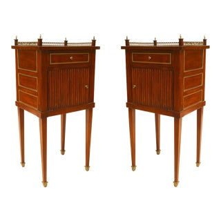 French Louis XVI Mahogany Bedside Commodes - a Pair For Sale