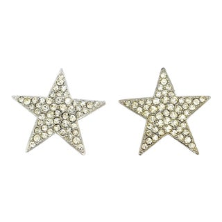 Massive Crystal Star Earrings by Kenneth Jay Lane For Sale