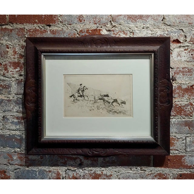 Edward Borein -Cowboy Rounding Up Cattle -1930s Etching For Sale - Image 9 of 9