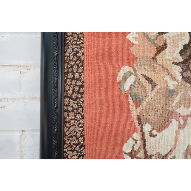 Tan Vintage Framed Stark Romanian Aubusson Tapestry Rug With Leopards For Sale - Image 8 of 13