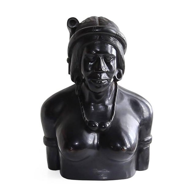 Wood Hand-Carved Wood Bust Sculptures of Tribal Shaman Figures - A Pair For Sale - Image 7 of 11