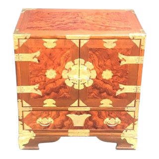 Chinoiserie Burlwood Cabinet/Nightstand For Sale
