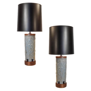 Blue Ceramic Raymor Lamps- A Pair For Sale