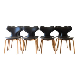 1960s Arne Jacobsen for Fritz Hansen Leather Grand Prix Dining Chairs - Set of 8