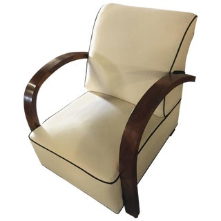 Light Beige Art Deco Burlwood Club Chair