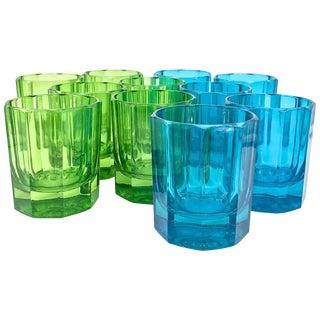 Sebastian Marcen Faceted Colored Glass Highball Whiskey Glasses Tumblers, 11 For Sale