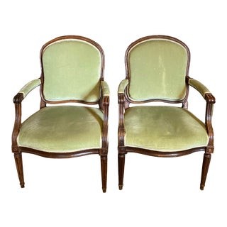 18th Century Arched Back French Fauteuils - a Pair For Sale