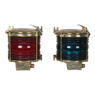 Mid 20th Century Port and Starboard Brass Side Light Sconces or Table Lights - a Pair For Sale