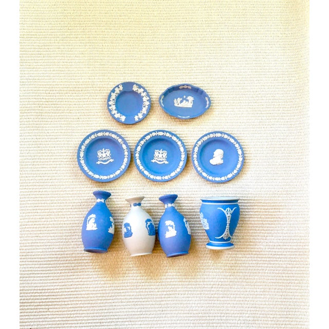 Tabletop Collection of Blue Wedgwood Jasperware - Set of 9 For Sale - Image 9 of 9