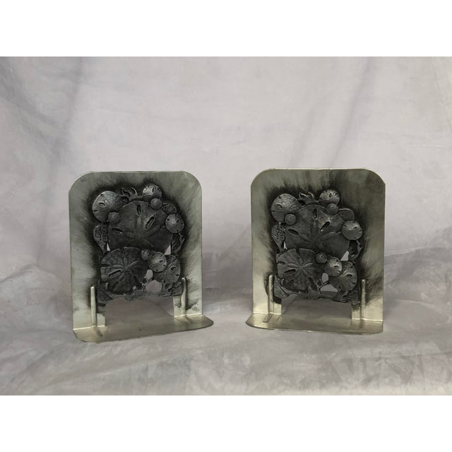 Vintage 1970s Metal Sand Dollar Bookends - a Pair For Sale - Image 11 of 11