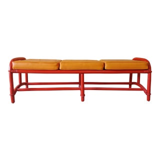 Vintage Modern Ficks Reed Rattan Bench With 3 Seat Cushions For Sale