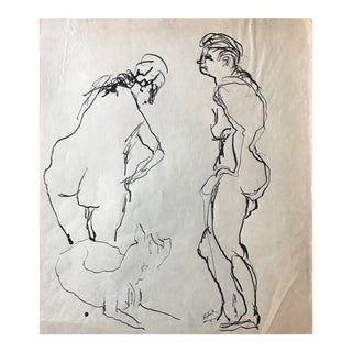 1950s Bay Area Artist Two Nudes and a Dog For Sale