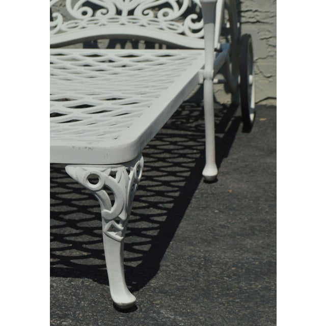 Quality Pair Cast Aluminum Patio Chaise Lounges For Sale - Image 11 of 13
