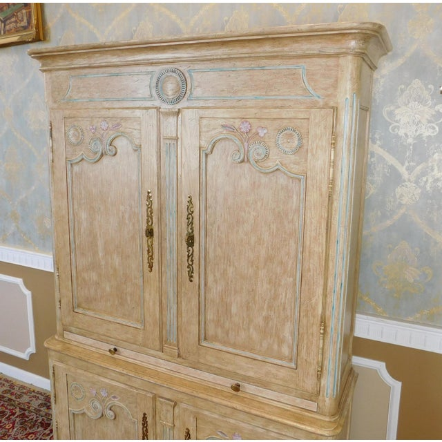 Country Country French Baker Furniture Paint Decorated Armoire Bar Cabinet For Sale - Image 3 of 9