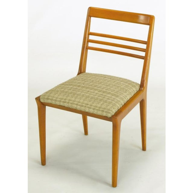 1950s Four Renzo Rutili Walnut & Upholstered Dining Chairs For Sale - Image 5 of 10