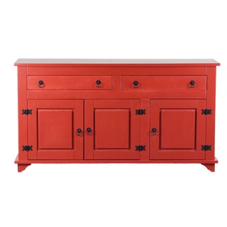 Lisa Red 3 Door Buffet Cabinet