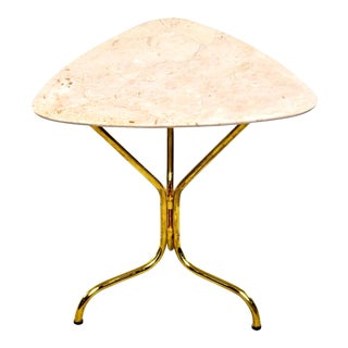 Italian Mid Century Side Table With Brass Base and Travertine Top For Sale