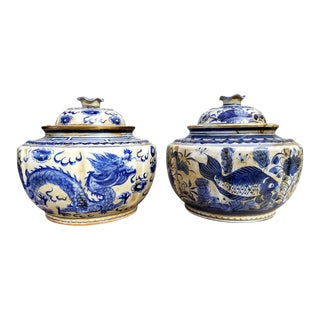 19th Century Chinese Blue and White Ginger Jars - a Pair