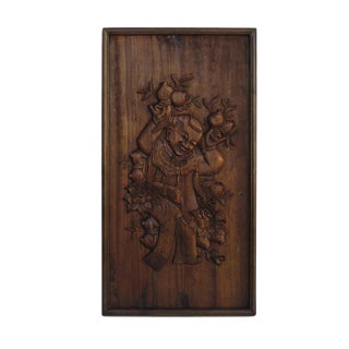 Chinese Hand Carved Relief Panel of Child For Sale