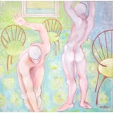 Image of Vintage Modernist Expressionist Painting of Nudes For Sale