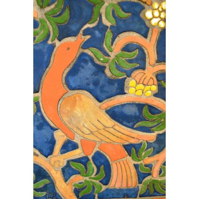 """1960s Vintage Henry Mercer Moravian Tile Works Red Bird on Branch """"Silva Vocat"""" Plaque For Sale - Image 10 of 12"""