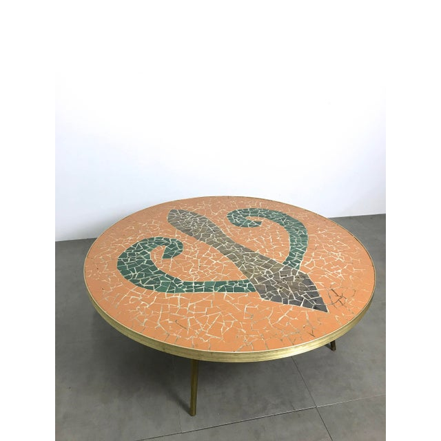 Italian Modern Round Mosaic Tile Coffee Table, Circa 1950's For Sale In Detroit - Image 6 of 11