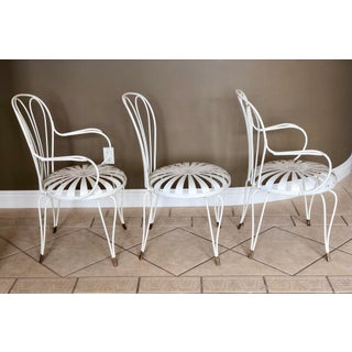 1930s Vintage French Art Deco Francois Carre White and Gold Sunburst Garden Chairs - Set of 3 Preview