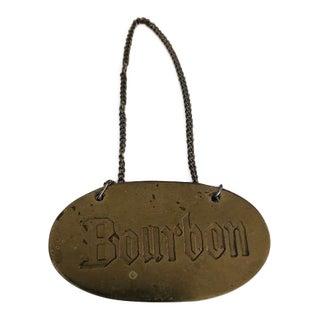 Vintage Brass Bourbon Liqueur Tag