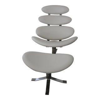 Rosebowl White Leather Swivel Chair & Ottoman