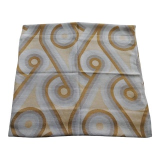 Vintage Gold and Grey Woven Deco Pattern Textile For Sale