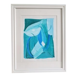 """Contemporary Abstract """"Sound Waters 2"""" Blue, Green, and Turquoise Acrylic on Canvas Paper Painting"""