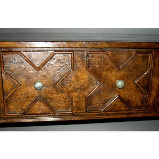 Modern Custom Walnut Wood Console With Drawers For Sale - Image 3 of 3