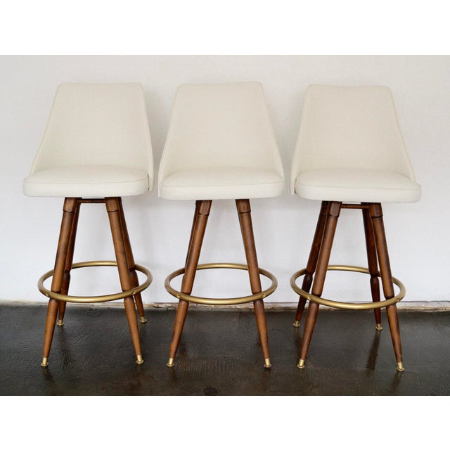 Mid-Century Hollywood Regency Bar Stools - Set of 3 - Image 7 of 11