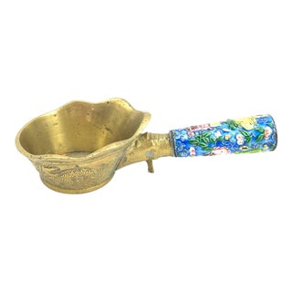Chinese Brass & Cloisonné Rice Scoop For Sale
